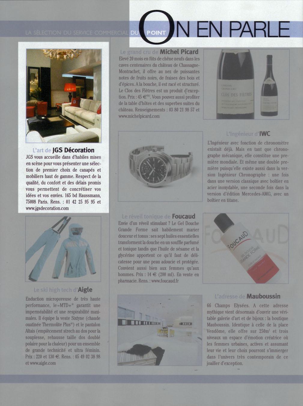 Press Release Le Point Jgs Decoration Paris